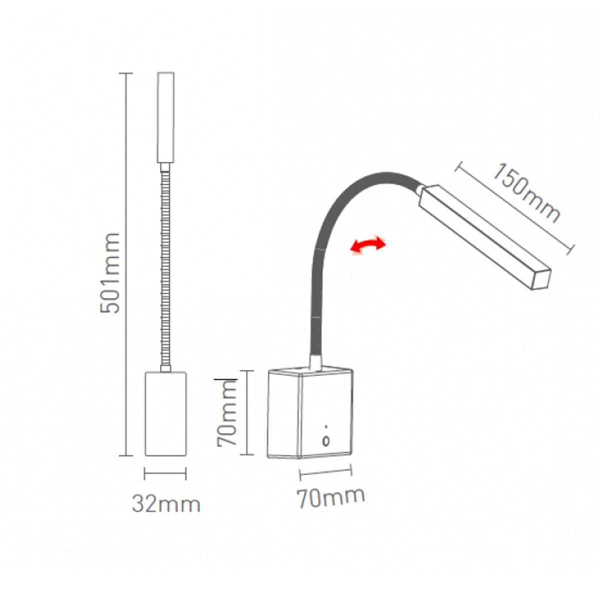 Arandela Snake Cores Dimmer LED com USB e Suporte - Interlight 4146