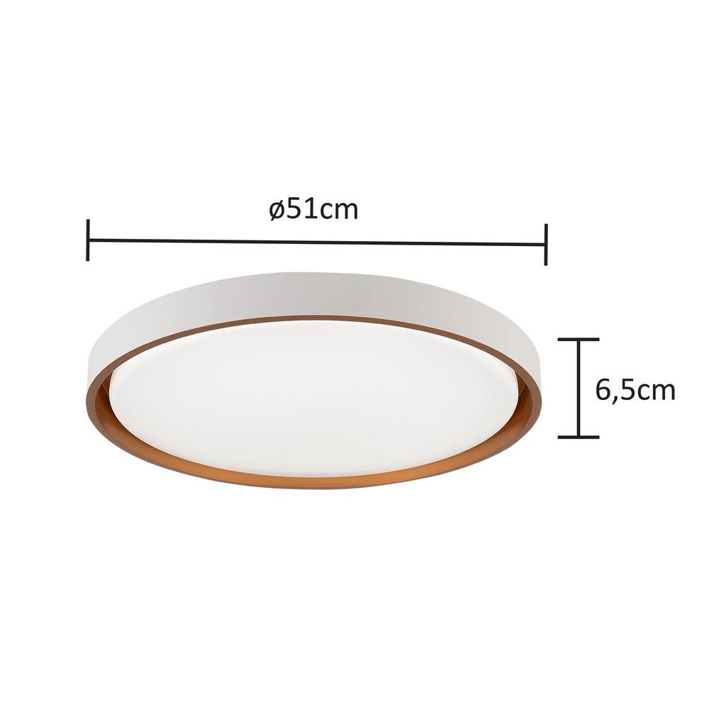 Plafon LED Redondo Branco e Dourado  Ø51cm  48W  3000K/4000K/6000K - Hevvy Iluminação LY- 8762L BC+DR