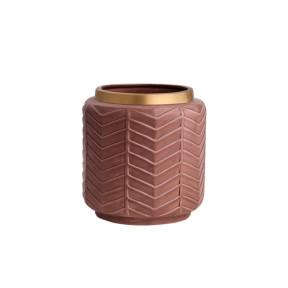 Vaso em Cerâmica Marsala e Dourado - Mart 10318 -  Frontal
